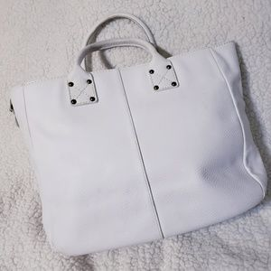 GAP White Pebbled Leather Large Tote Bag